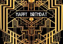 FHZON Backdrop 10x7ft Happy Birthday Photo Photography Background Black Gold Golden Banner Party Themed Wallpaper Video Studio Shoot Props LXFH566
