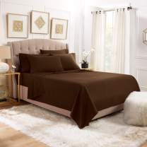 6 Piece Cal King Sheets - Bed Sheets Cal King Size – Bed Sheet Set Cal King Size - 6 PC Sheets - Deep Pocket Cal King Sheets Microfiber Bedding Sets Hypoallergenic Sheets - Cal King - Chocolate Brown