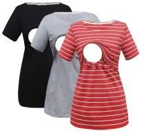 Bearsland Women's 3 Packs Cotton Maternity Nursing Tops Short Sleeve Breastfeeding Clothes