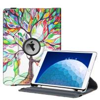 """Fintie Rotating Case for iPad Air (3rd Gen) 10.5"""" 2019 / iPad Pro 10.5"""" 2017-360 Degree Rotating Stand Protective Cover with Built-in Pencil Holder, Auto Sleep/Wake (Love Tree)"""