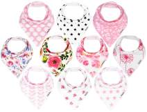 KiddyStar Bandana Baby Drool Bibs for Girls, 8-Pack Bib Set for Drooling and Teething, Organic Cotton, Soft and Absorbent, Baby Shower Gift for Newborn Babies and Toddlers (10 Pack)