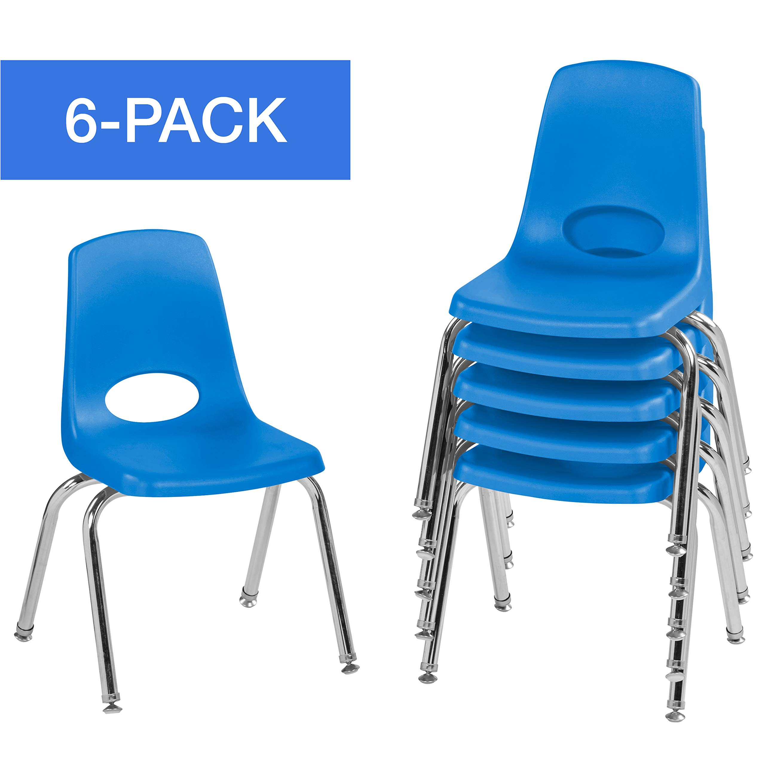 """Factory Direct Partners 14"""" School Stack Chair,Stacking Student Chairs with Chromed Steel Legs and Nylon Swivel Glides - Blue (6-Pack) (10364-BL)"""