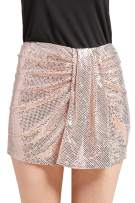 May You Be Women's Junior Stretch Shirring Body Con Pencil Mini Skirt with Sparkles Night Out Party