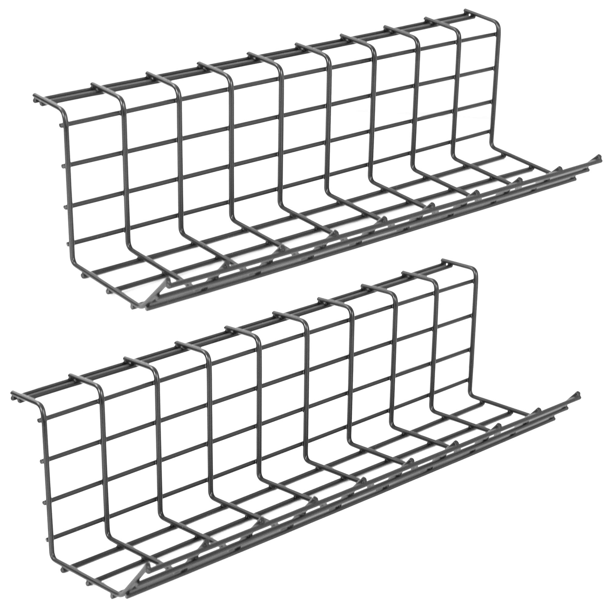 VIVO Iron Dual Under Desk 17 inch Cable Management Wire Racks, Power Strip Holders, Cord Organizers, Wire Management Trays for Office and Home (2 Pack) (DESK-AC06-2B)