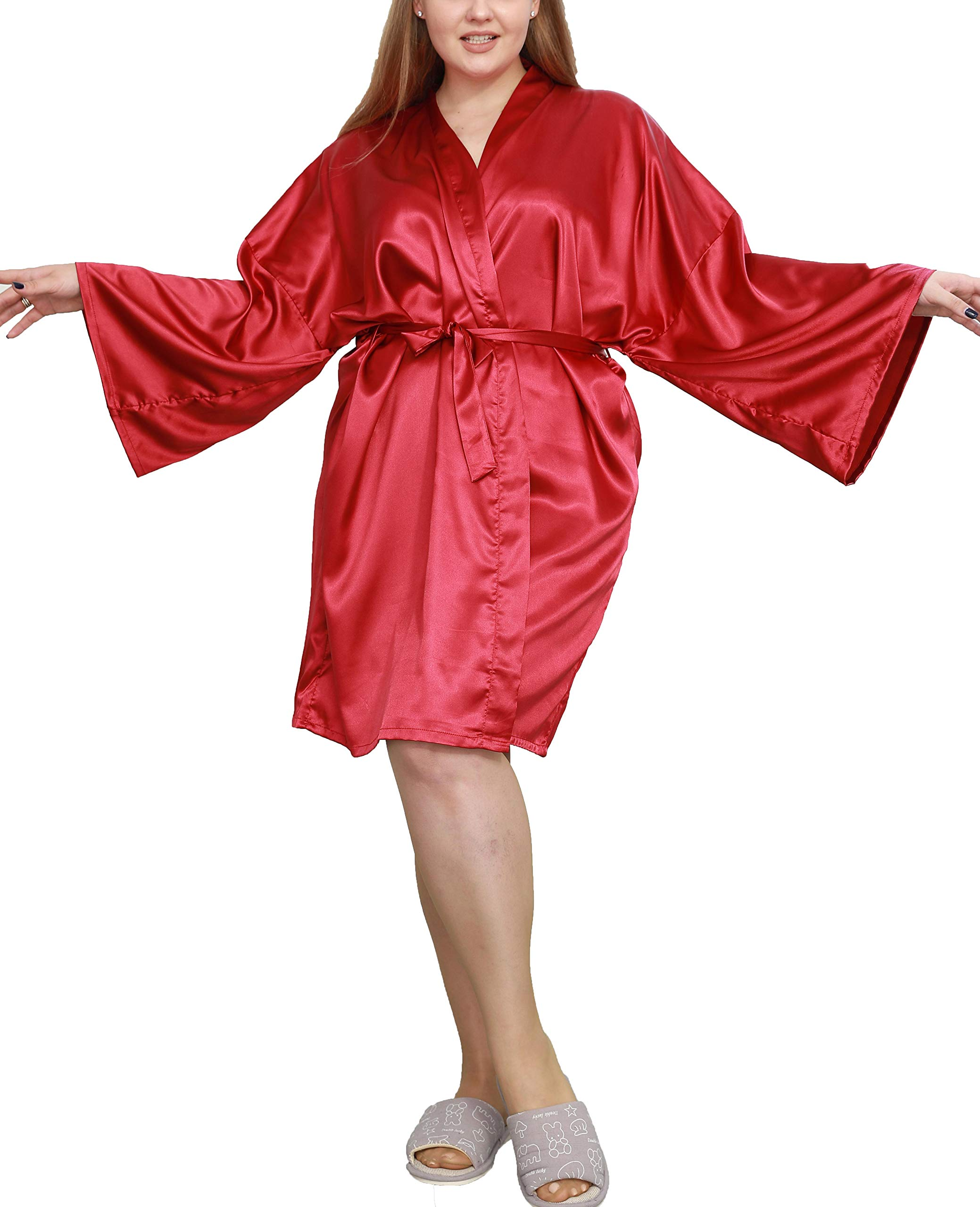 Plus Size Robes Womens Robe Satin Silk Bridesmaid Bride Kimono Bell Long Sleeve Bathrobe