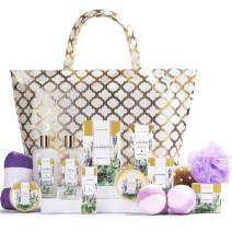 Spa Luxetique Spa Gift Basket, Lavender Spa Gift Sets for Women, Luxury 15 Pcs Bath and Body Gift Set, Relaxing Home Spa Kit with Bubble Bath, Bath Bombs, Massage Oil. Beauty Gift Baskets for Women.