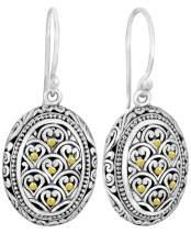Sterling Silver 925 and 18K Gold DEVATA Filigree Bali Heritage Classic Drop Earrings DHN3148TT