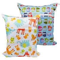 LBB Baby Cloth Diaper Bags 2pcs Pack, Wet Dry Cloth Diaper Bag Travel(Giraffe and Owls)