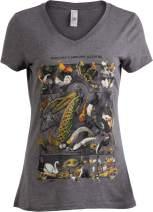 Vintage Bird Art   Nature Birding Watcher Watching Ornithology V-Neck T-Shirt for Women