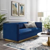 Modway Sanguine Vintage Glamour Channel Tufted Performance Velvet Upholstered Sofa in Navy