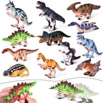 FUN LITTLE TOYS 12 Pieces Assorted Wind Up Dinosaur Toys for Kids Party Favors, Mini Toy Dinosaur Figures for Kids Prizes, Birthday Party Supplies Toddler Toys, Goodie Bag Fillers