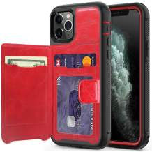 timecity iPhone 11 Pro Wallet Case with Card Holder,PU Leather Kickstand Card Slots Case.with Magnetic Clasp and Durable Shockproof Cover for iPhone 11 Pro 5.8 Inch 2019 Release - Black +Red