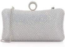 Dexmay Rhinestone Crystal Ring Clutch Purse Luxury Evening Bag for Bridal Wedding Party