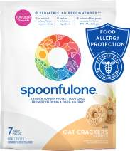 SpoonfulOne Allergen Introduction Oat Crackers   Protection For Kids From Developing a Food Allergy   Snack for a Toddler or Baby 12+ Months   Certified Organic (Vanilla - 7 Pack)