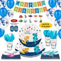 Dinosaur Party Supplies (Serve 16), Dino Theme Birthday Party Decoration Set for Boy, Kids, Baby Shower with Banner, Paper Plates, Cups, Napkins, Knifes, Forks, Spoons, Bonus Ballons, Cupcake Toppers