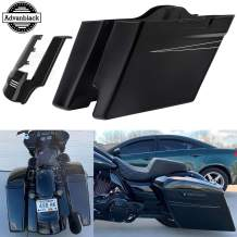 Moto Onfire Stretched Saddlebags and Rear Fender Extension 2 into 1, Vivid/Glossy Black, 4.5 inch Extended Bottoms Fit for Harley Touring Road Glide Special, 2014 2015 2016 2017 2018 2019 2020