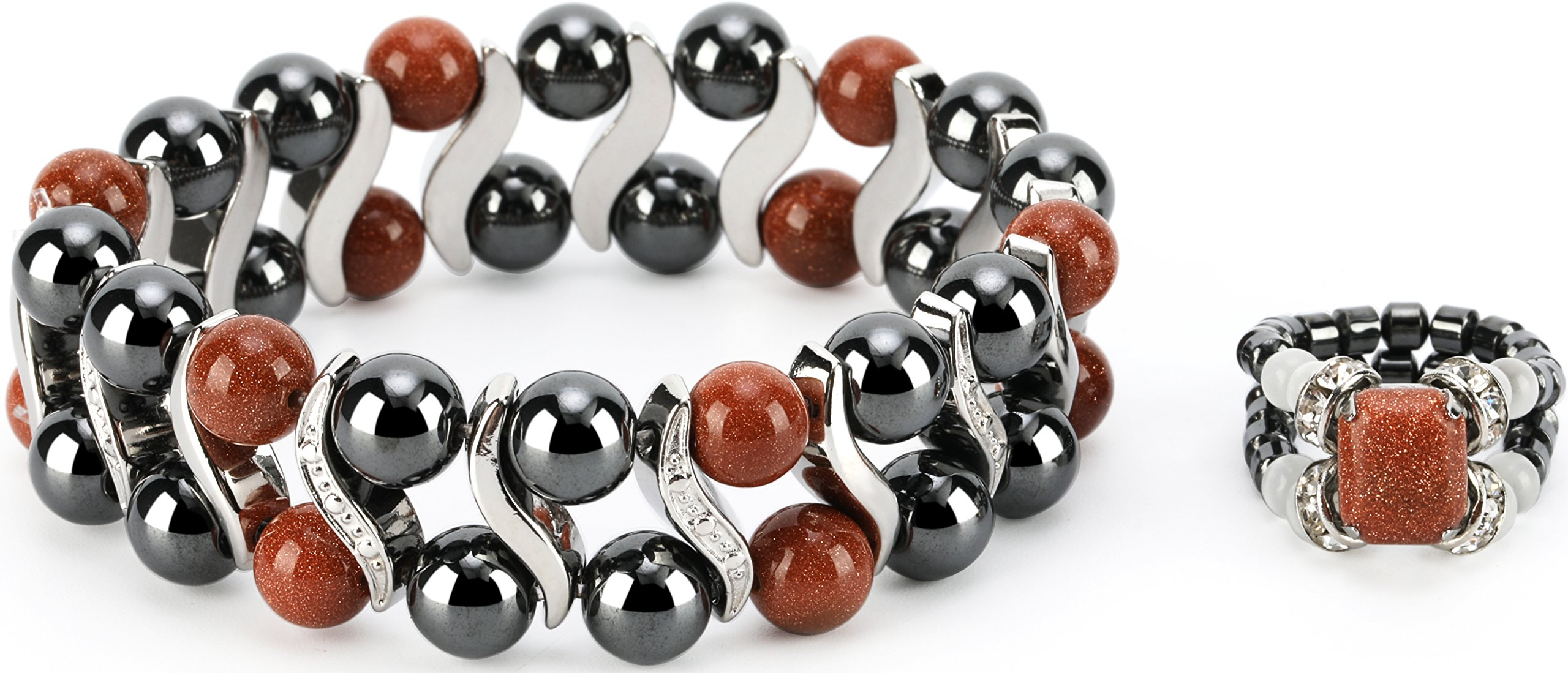 Elegant Womens Hematite Magnetic Stone Bracelet & Ring Set Pain Relief for Arthritis and Carpal Tunnel (Gold Sand)