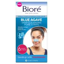 Bioré Blue Agave Pore Strips, 6 Nose Strips for Combination Skin, with Instant Blackhead Removal and Pore Unclogging, features C-Bond Technology, Oil-Free, Non-Comedogenic Use