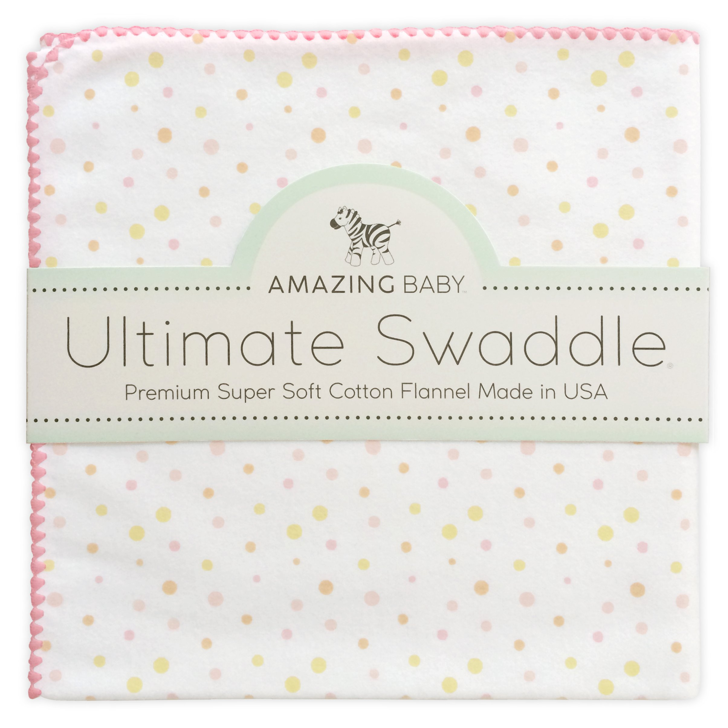 Amazing Baby Ultimate Swaddle, X-Large Receiving Blanket, Made in USA, Premium Cotton Flannel, Playful Dots, Multi Pink (Mom's Choice Award Winner)
