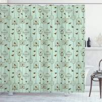"Ambesonne Vintage Shower Curtain, Pattern with Birds and Cages Illustration Freedom and Escape Artwork, Cloth Fabric Bathroom Decor Set with Hooks, 70"" Long, Green Brown"