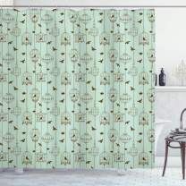 """Ambesonne Vintage Shower Curtain, Pattern with Birds and Cages Illustration Freedom and Escape Artwork, Cloth Fabric Bathroom Decor Set with Hooks, 84"""" Long Extra, Green Brown"""