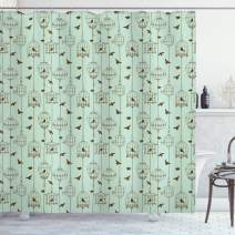 "Ambesonne Vintage Shower Curtain, Pattern with Birds and Cages Illustration Freedom and Escape Artwork, Cloth Fabric Bathroom Decor Set with Hooks, 84"" Long Extra, Green Brown"