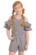 Truly Me, Little and Big Girls' Sleeveless and Short Sleeve Printed Spring/Summer Rompers, Size 4-6X, 7-16