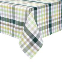 HARORBAY Outdoor Table Cloth for Picnic, Fall Rectangle Tablecloth, Farmhouse Waterproof Table Cover for Camping (52 x 70 Inch, Green)