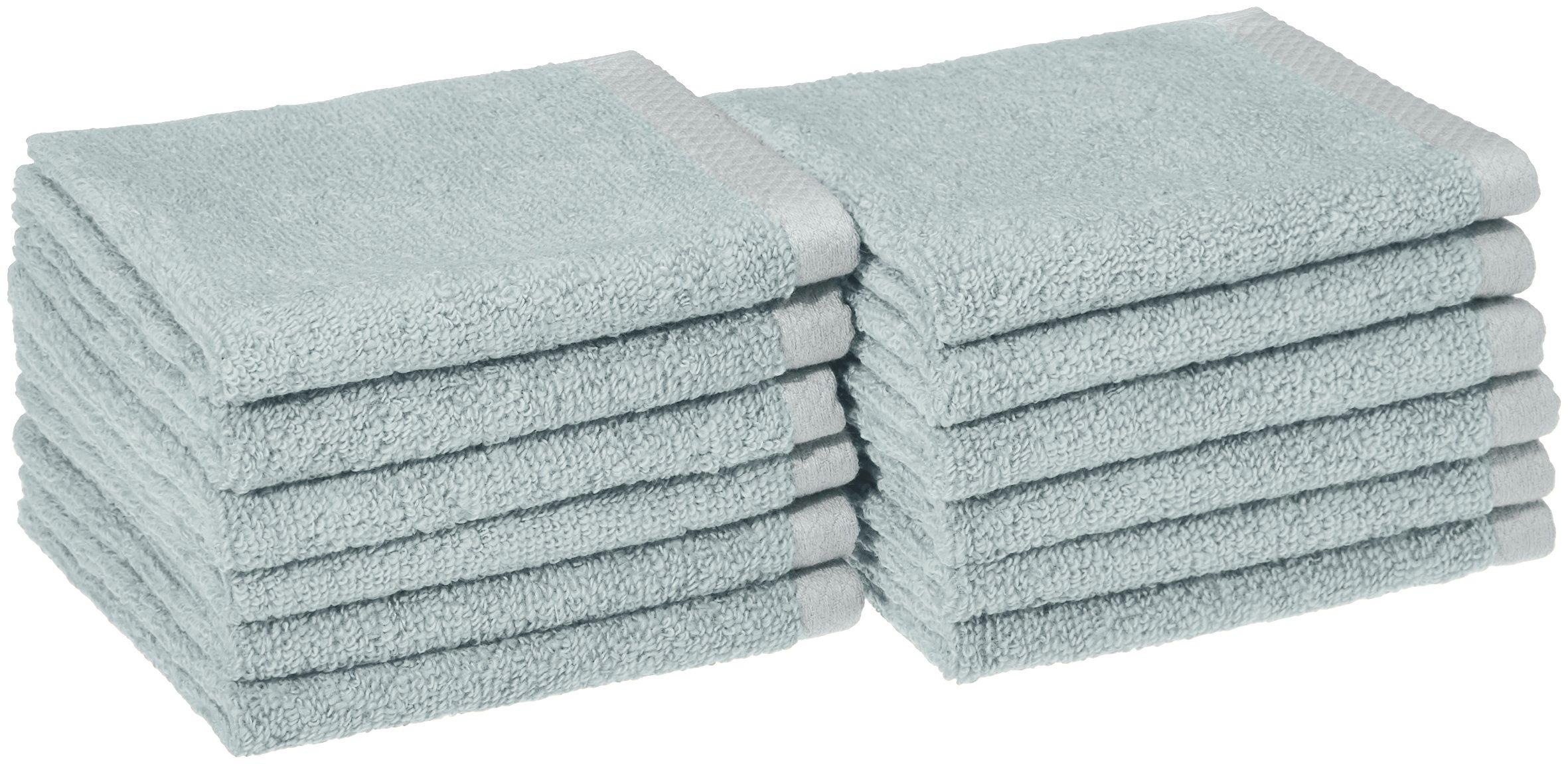 AmazonBasics Quick-Dry, Luxurious, Soft, 100% Cotton Towels, Ice Blue - Set of 12 Washcloths
