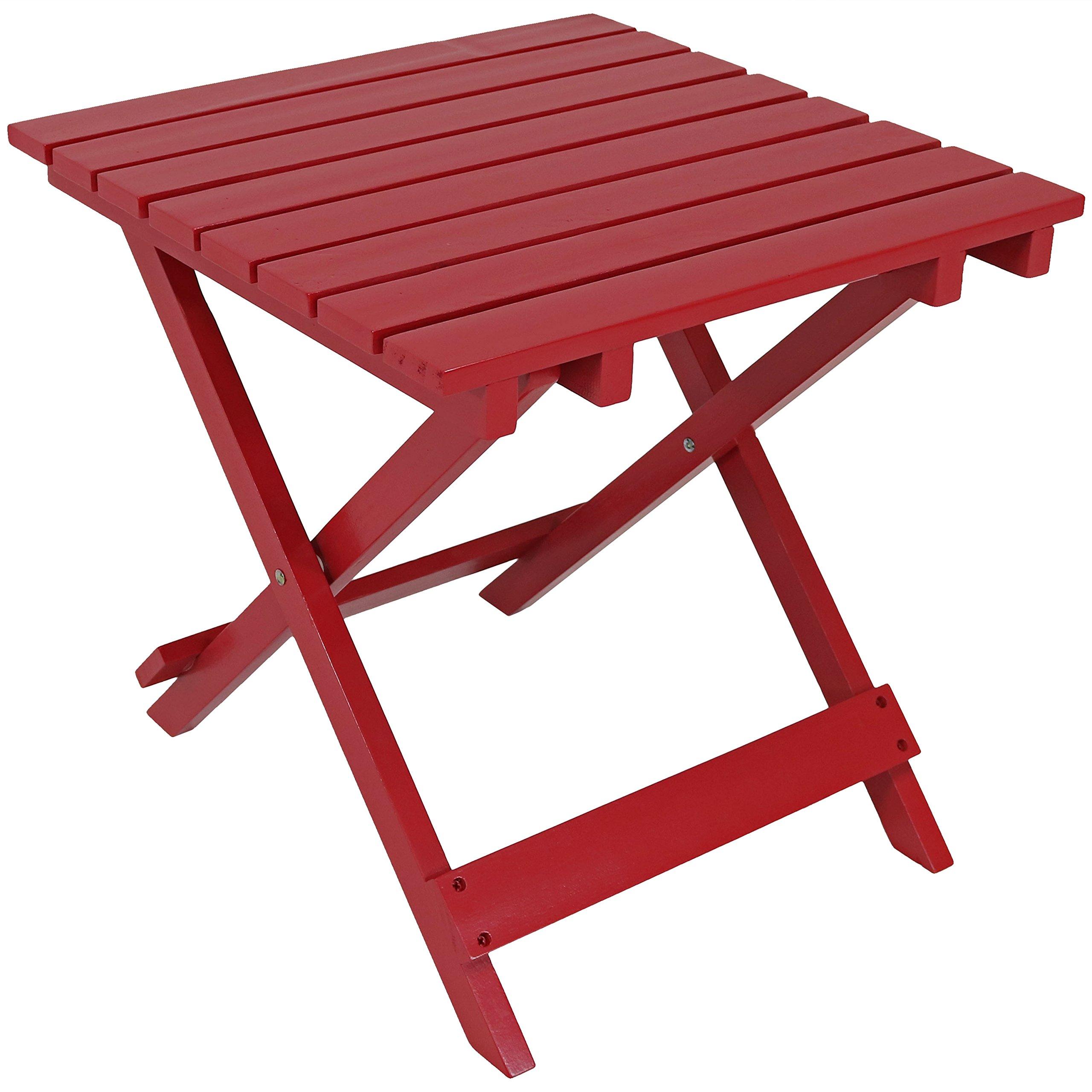 Sunnydaze Wood Adirondack Folding Patio Side Table, Red