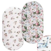 Momcozy Floral Bassinet Sheets, 2 Pack Waterproof Sheet Set for Baby Girls, Fit for Bassinet Mattress Pad Cover, Like Oval Halo, Chicco Lullago, Mini Co-Sleepers, Ingenuity