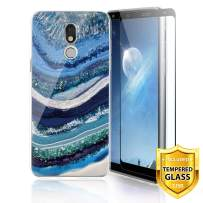 TJS Phone Case for LG Stylo 5/Stylo 5 Plus/Stylo 5V/Stylo 5X, with [Full Coverage Tempered Glass Screen Protector] Ultra Thin Slim TPU Matte Color Marble Transparent Clear Soft Skin (White/Blue)