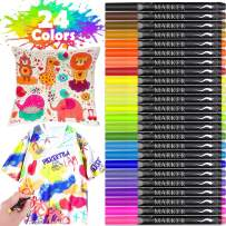 Fabric Marker, Emooqi 24 Colors Textile Marker No Bleed Non Toxic Fabric Pen Permanent and Washable T-Shirt Marker,Ideal for Decorate T-shirts, Bibs, Textiles, Shoes, Handbags, Graduation Signatures