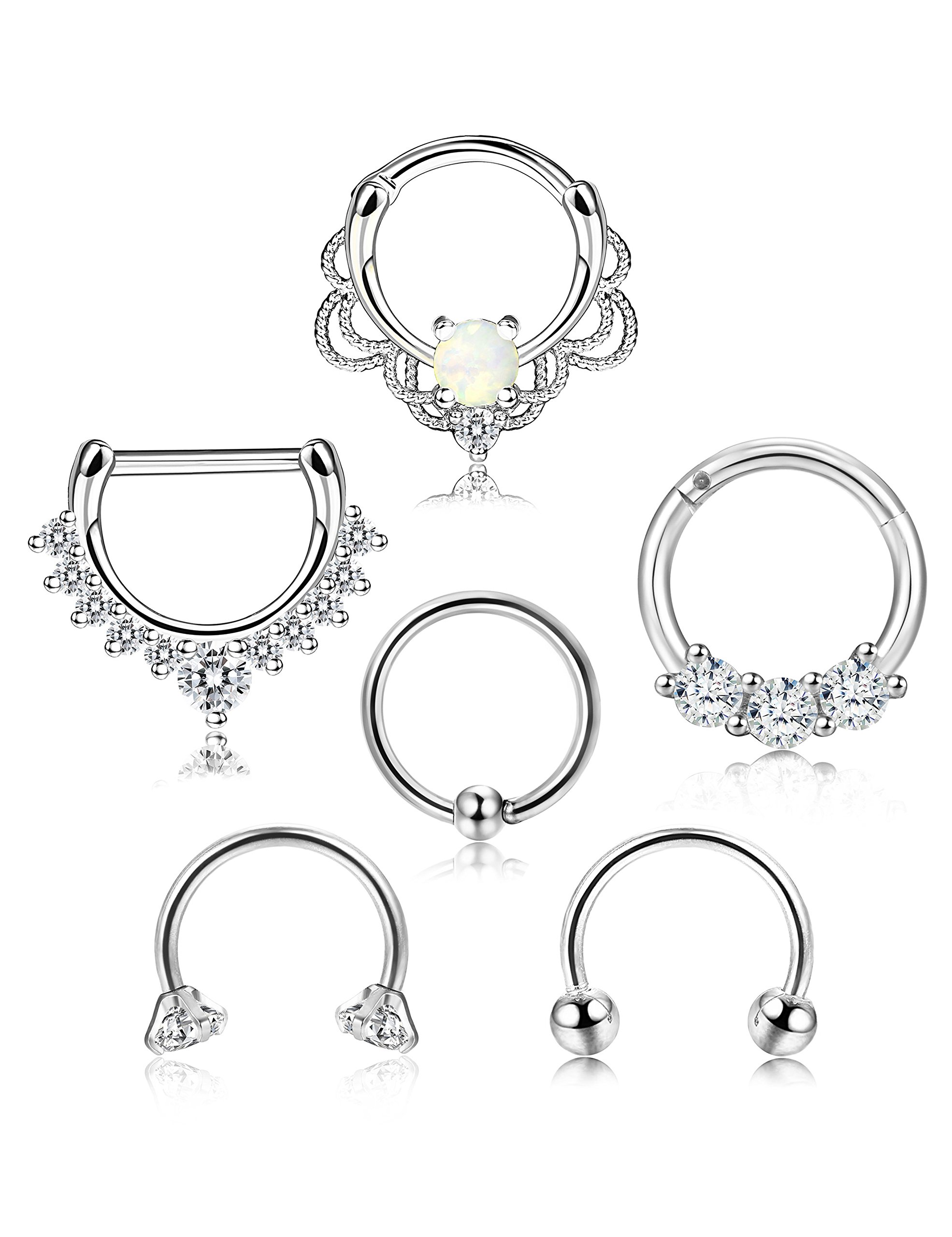 ORAZIO 6PCS 16G 316L Stainless Steel Septum Hoop Nose Ring 8MM Horseshoe Rings Cartilage Clicker Piercing Jewelry 3 Colors