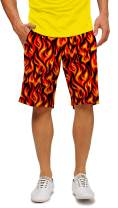 "Loudmouth Golf-StretchTech Poly-John Daly Fun Flame Five Alarm Men's Short-Knee Length, 11"" Inseam"