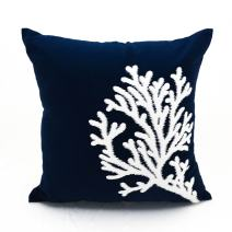 KainKain Decorative Pillow Cover Navy Blue White, Coral Reef Tree Embroider Cushion Couch Cover Handcrafted, Nautical Coastal Style Summer House Decor (16 inch x 16 inch)