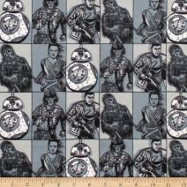 CAMELOT Fabrics Star Wars Hero Squares Flannel Grey Fabric by The Yard