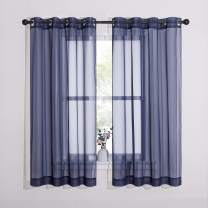 NICETOWN Sheer Curtains Voile Panels - Ring Top Light Weight Voile Window Draperies for Bedroom/Nursery/Dorm (W54 x L63 Inches, Dark Blue, Set of 2)