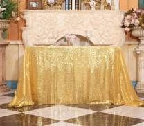 Poise3EHome 60×102'' Rectangle Sequin Tablecloth for Party Cake Dessert Table Exhibition Events, Golden