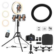 Aluminum Remote Controlled LED Selfie 10' 12' 14' 18'Ring Light 3m Wire,Saimly Portable Tripod Camera Ring Light and 4 Phone Stands, 3000k-6500k Dimmer for Photography/Makeup/Video