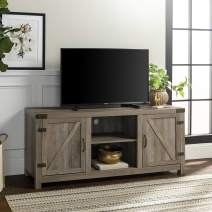 28 Inches Tall Reclaimed Barnwood Walker Edison Furniture Company Modern Farmhouse Sliding Barndoor Wood Stand for TVs up to 65 Flat Screen Cabinet Door Living Room Storage Entertainment Center
