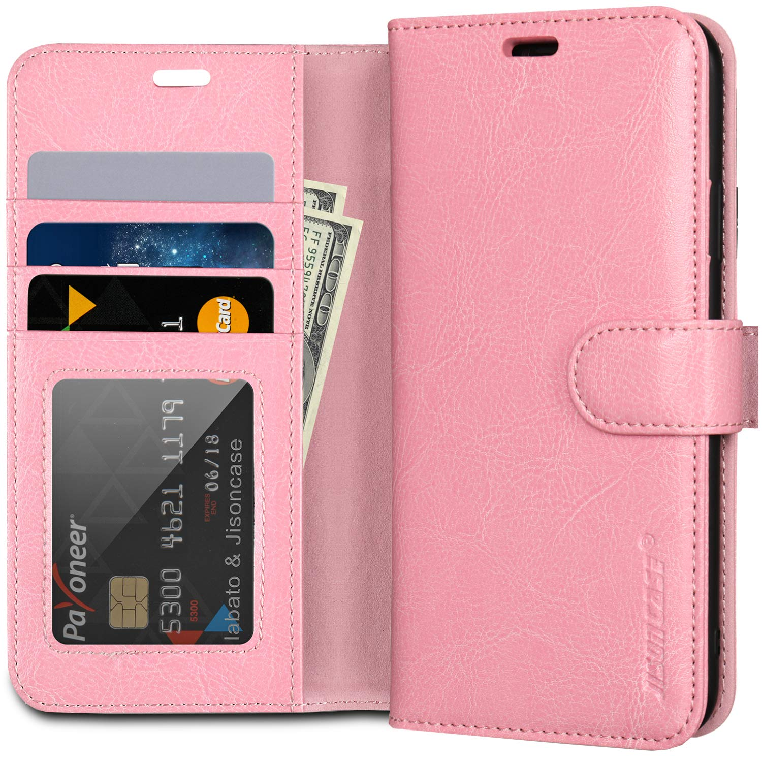 """JISCONCASE Genuine Leather iPhone 11 Pro Max Wallet Case, Flip Case iPhone 11 Pro Max with Card Holder,Wireless Charging & Magnetic Closure Wallet Cover for iPhone 11 Pro Max,Pink 6.5"""""""