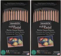 General Pencil 4400-12A General's Pastel Chalk Pencils, 12 Colors, Multicolor Pack of 2