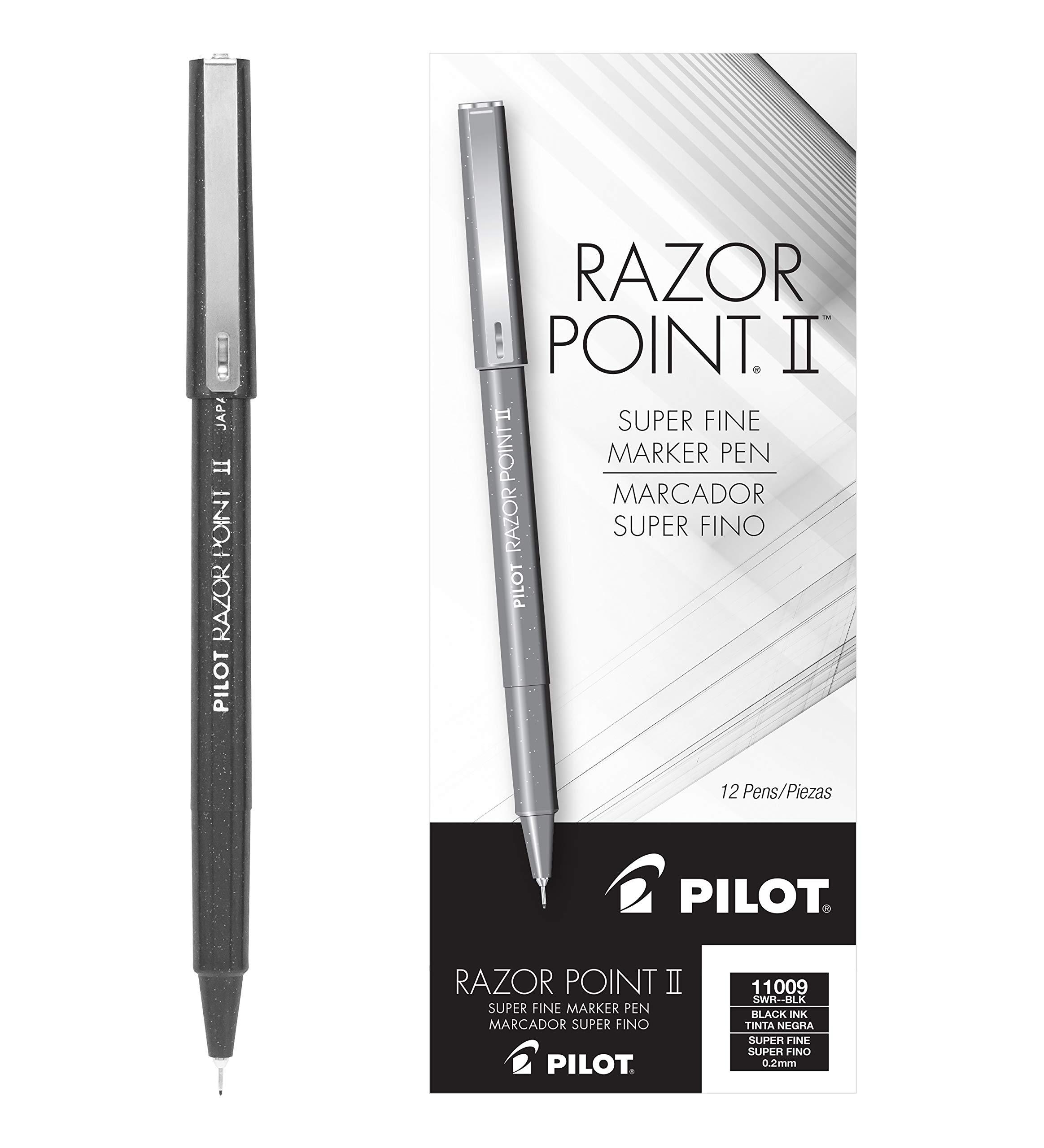 PILOT Razor Point II Fine Line Marker Stick Pens, Super Fine Point (0.2mm) Black Ink, 12 Count (11009)