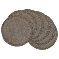 U'Artlines Indoor & Outdoor Round Cotton Placemat, Perfect for Fall, Dinner Parties, BBQs, Christmas Parties and Everyday Use,6pcs placemats, Brown