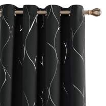 Deconovo Silver Wave Foil Printed Blackout Curtains Room Darkening Curtain Grommet Top Thermal Insulated Window Drapes for Children' Room 52W x 54L Inch Set of 2 Panels Black