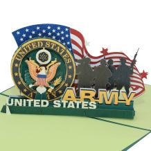 Sweet Land of Liberty Brave Soldiers of U.S. Army - 3D Pop Up Greeting Card - Father's Day Gift Birthday Card, Graduation Card Anniversary Card By AITpop (army)
