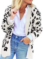 LOSRLY Womens Long Sleeve Leopard Print Open Front Knitting Cardigans Sweater Coat Outwear (S-XL)