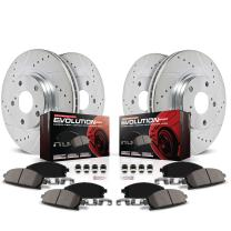 Power Stop K2804 Front & Rear Brake Kit with Drilled/Slotted Brake Rotors and Z23 Evolution Ceramic Brake Pads