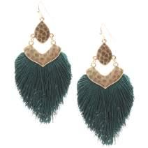 MIRMARU Women's Bohemian Silky Thread Feather Shape Dangle Fringe Tassel Drop Statement Hook Earrings
